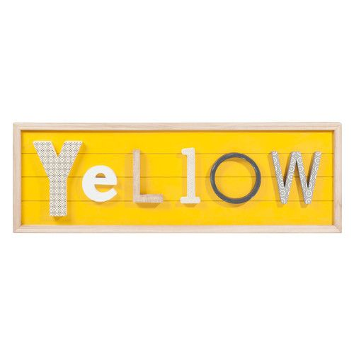 Houten schilderij, geel, 32 x 96 cm, YELLOW