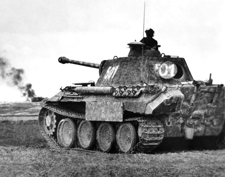 "5sswiking: ""Panther '501' of SS-Untersturmführer Neven du Mont from the Wiking Division in a firefight in the summer of 1944. This tank has lost some of its Schürzen plates, probably due to damage by..."