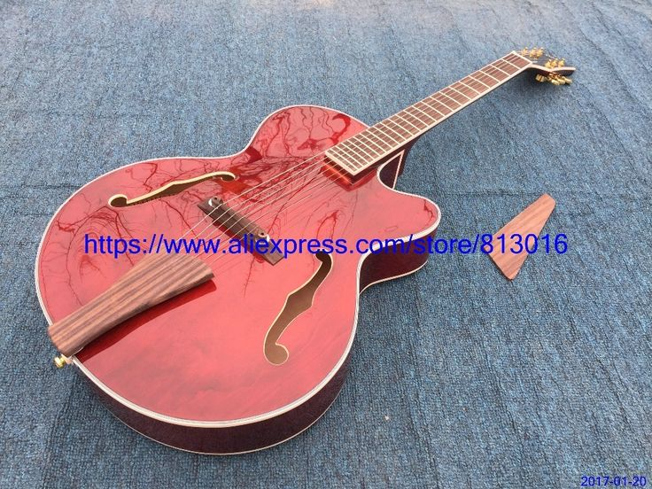 365.00$  Buy here - http://alirg0.shopchina.info/1/go.php?t=32792502516 - New Arrival JAZZ electric guitar,Wine red,no electronics,wood bridge ,tail and pickguard,gold parts.no inlay,free Shipping  #aliexpress