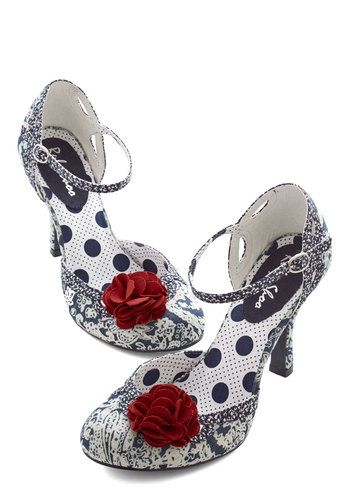 You Cancan Do It Heel in Blue - High, Woven, Blue, White, Paisley, Flower, Special Occasion, Prom, Wedding, Party, Girls Night Out, Daytime Party, Bridesmaid, Rockabilly, Vintage Inspired, 20s, Darling, Better, Red, Variation