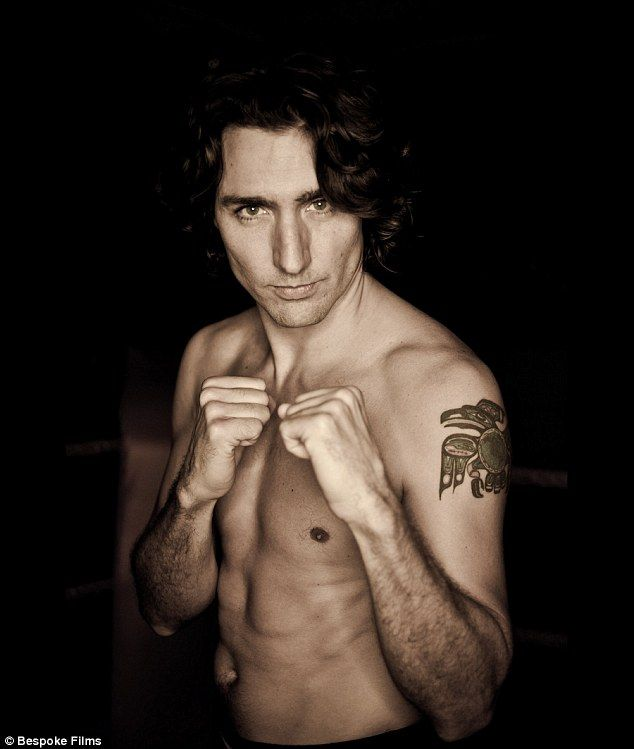 Justin revealed his toned chest and his tattoo when he fought Canadian Conservative Sen. Patrick Brazeau  in a charity boxing match. This photo is from a poster for the much-publicized fight in 2012