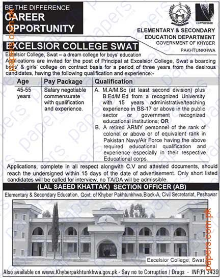 Jobs In Elementary&Secondary Education Department KPK