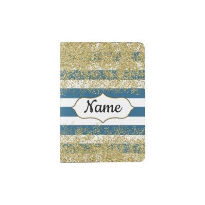 Blue Bold Stripes Gold Glitter Personalized Passport Holder - glitter gifts personalize gift ideas unique