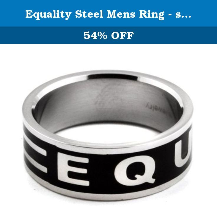 """Equality Steel Mens Ring - size 12. High polished stainless steel ringband spelling out the word """"EQUALITY"""" with an equals sign against a black titanium background. This mens steel ringband is 8mm (1/4"""") wide. Available in sizes 5 through 13."""