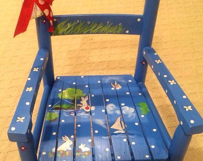 This is a custom painted childs rocking chair. It is painted with acrylic paints and sealed with several coats of gloss finish.  I can paint one similar to this or custom paint one with another design you choose.  ***Please read my shipping & shop policies***  Personalize at no extra charge