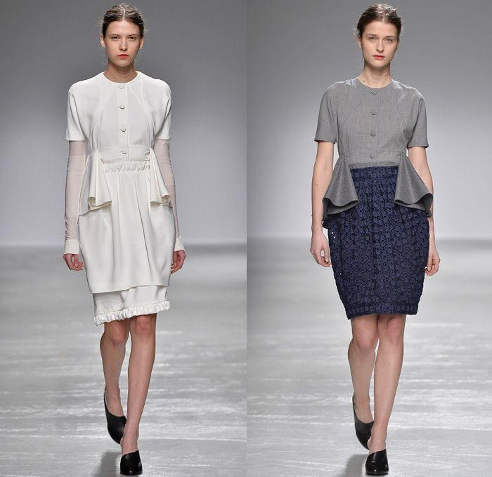 Guy Laroche 2016-2017 Fall Autumn Winter Womens Runway Catwalk Collection Looks - Paris Fashion Week Mode à Paris France - Wine Bottle Cocoon Skirt Lace Guipure Beadwork Turtleneck Slim Pants High Waist Trousers Embroidery Flowers Floral Botanical Ruffles Frock Balloon Skirt Shirtdress Sheer Chiffon Dress Outerwear Jacket Wide Lapel Balloon Sleeves Coatdress Boots