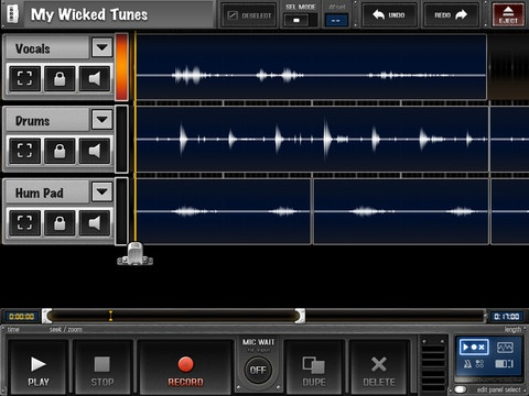 """Overdub is layered sound recorder and sampler sequencer. Use the microphone on your iPod/iPhone/iPad to record and layer drums, bass, vocals etc. Perfect for musical """"sketching"""", singing, beatboxing, rapping, or remixing / experimentation. Overdub can also be used for adding commentary on top of a recording, or editing a recorded interview on the go."""