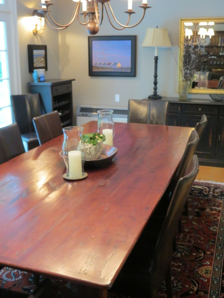 Gorgeous Farmhouse Dining Table Made From Reclaimed Wood And Custom Black Buffet