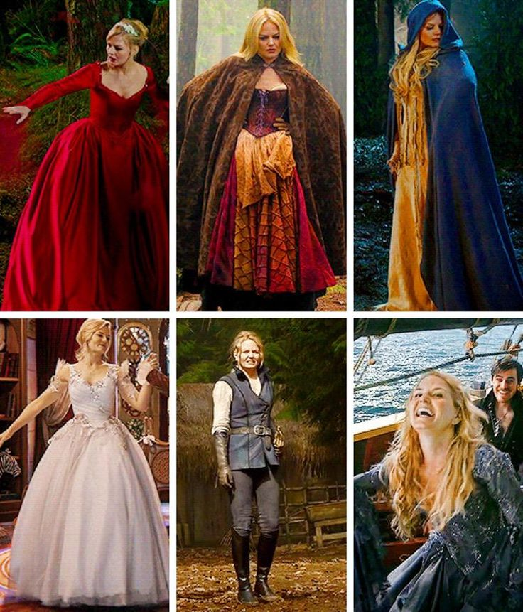 Emma's Enchanted Forest outfits. Love them all! # 1-3 are from 3.21-22, disguises while she and Hook were trapped in Past Enchanted Forest; # 4 is from 3.14 when Charming dreams of teaching adult Emma to dance for her first ball; # 5-6 are from 4.21-22, AU Enchanted Forest.