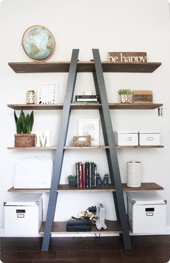 DIY Furniture | West Elm Knock Off Ladder Shelf ~ I love this simple-to-build ladder shelf that costs a fraction of the one from West Elm!