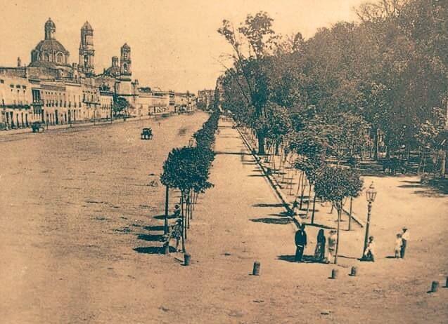 La Alameda vista desde San Diego, y la avenida de los Hombres Ilustres, hoy Avenida Hidalgo aproximadamente de 1861.