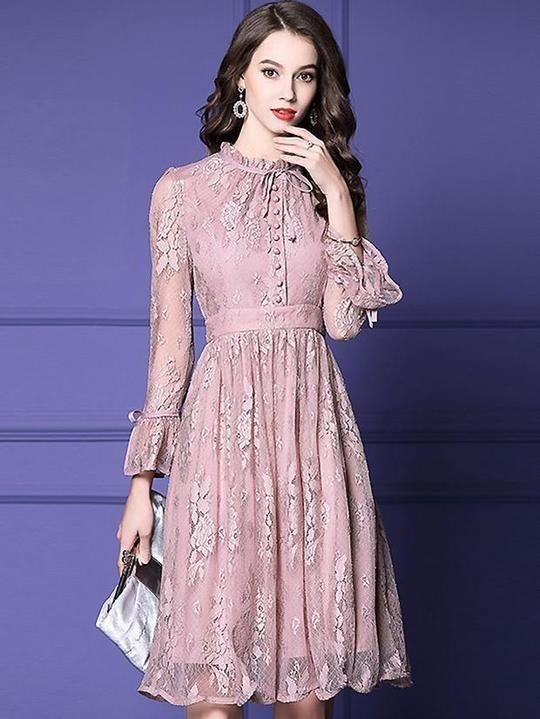 Sweet Lace O-Neck Flare Sleeve A-Line Midi Dress 3