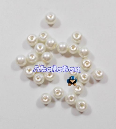 perlas de cristal lacado color crema 6mm