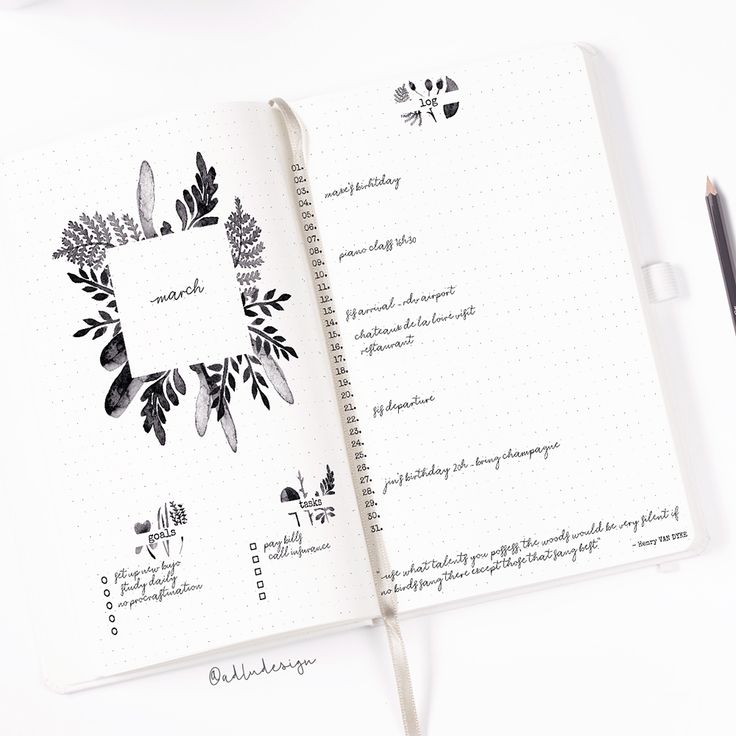 Botanical Monthly Log Printable / Bullet Journal Insert / Goals & Task List / Watercolors Layout / Monthly Spread / Leaves Stickers