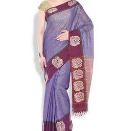 Buy Purple woven saree cotton saree cotton-saree online