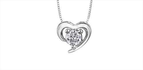 Maple Leaf Diamonds Solitaire Heart Pendant