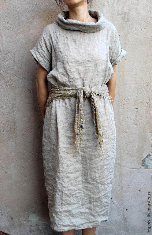 Купить Льняное платье - бежевый, натуральный, лен, летнее платье, льняное платье, легкое платье