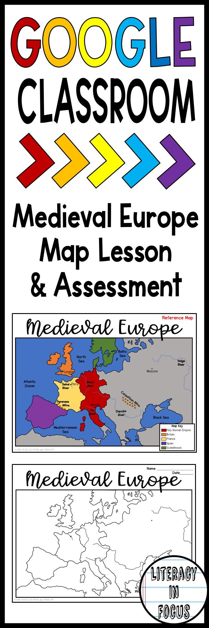 Medieval Europe map lesson and quiz for your Google Classroom! Students focus on the geography and empires of the Middle Ages. Digital and PDF versions included! #middleschool #worldhistory #middleages #medievaleurope #holyromanempire #maplesson