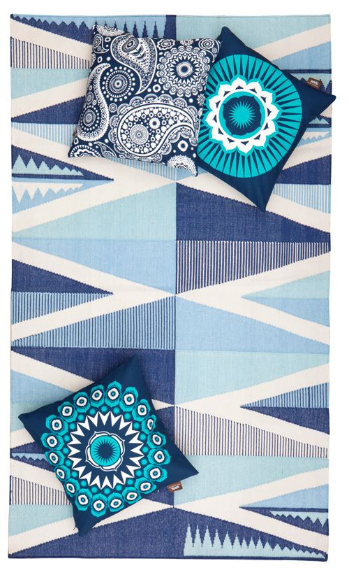 Mini Moderns never ceases to amaze me with their creative wallpapers, pillows, rugs, and ceramics and their latest additions to the Buddha of Suburbia collection are no exception. The collection is inspired by all things to the east so Indian dhurries fit right in. Woven in Jaipur, the 100% cotton dhurries come in two styles, Backgammon and Zag, and are available in two colors each, Harvest Orange and Washed Denim, and the new pieces tie in with the rest of the collection perfectly.