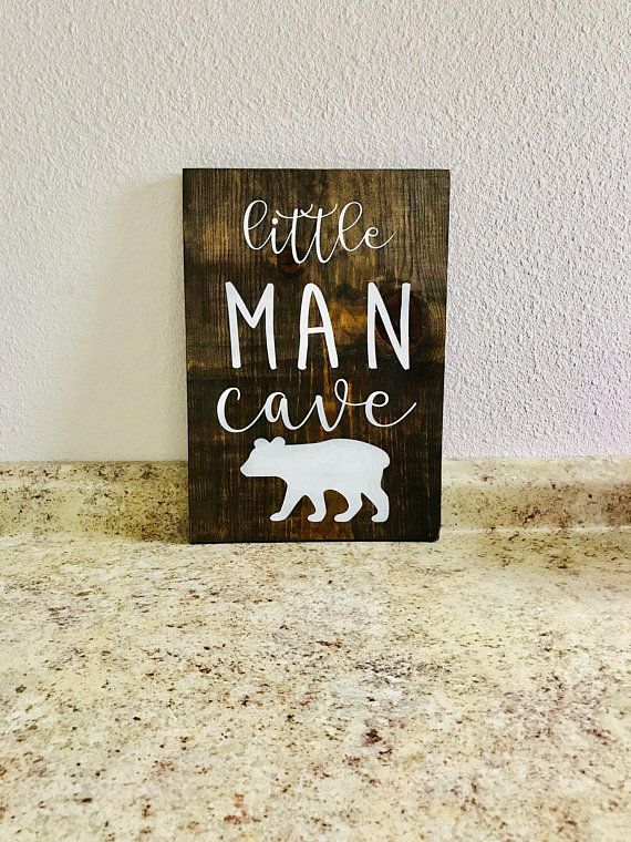 Little Man Cave Wooden Sign Products Wooden Signs Nursery Wood