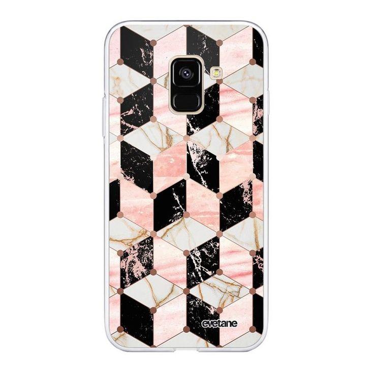 Coque 360 Samsung Galaxy A8 2018 360 Intégrale Cubes Marbres Ecriture Tendance Design Evetane – Taille : Taille Unique