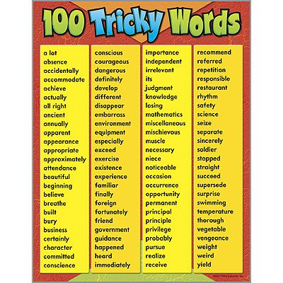 100 tricky words learning chart from trend teacher created award winning learning products for. Black Bedroom Furniture Sets. Home Design Ideas