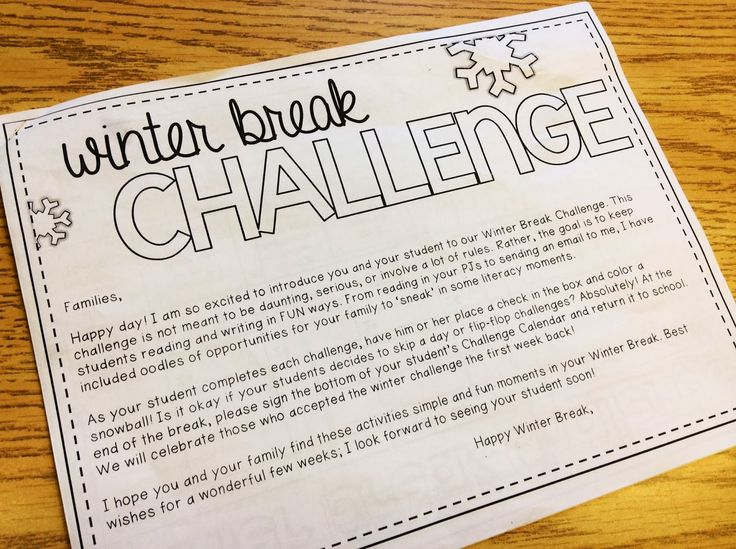The Brown-Bag Teacher: Winter Break Challenge Re-cap!