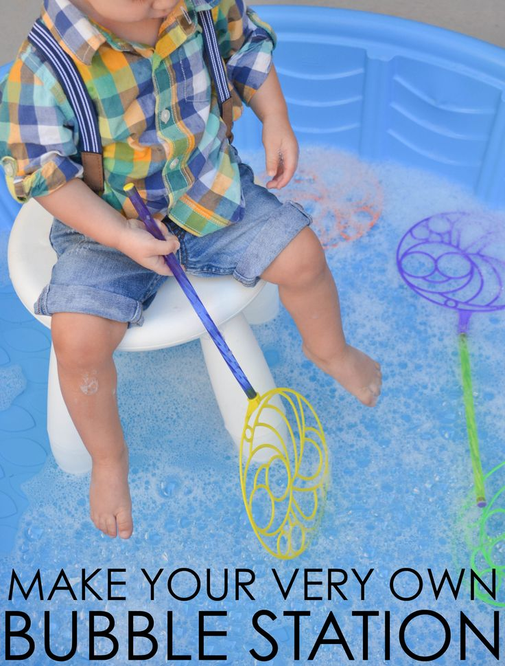 Make Your Own Bubble Station - love this idea for simple playtime or even an activity at a toddler party!