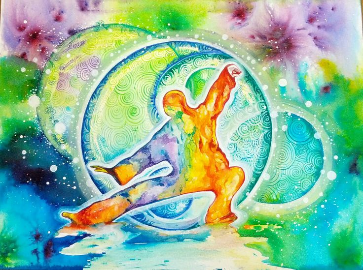 Finding Chi, Watercolour by Claire Loughran, Irish artist. tai chi, martial art.