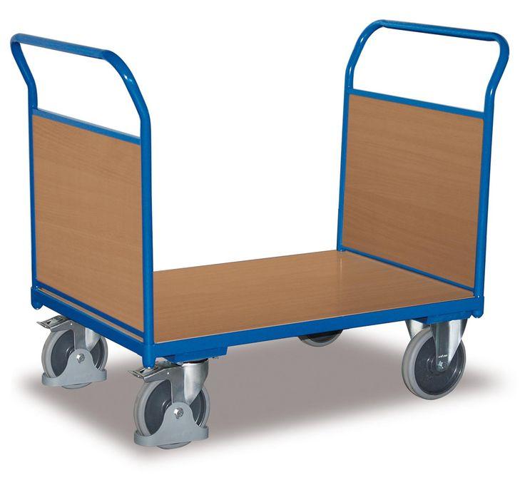 GTARDO.DE:  Doppel-Stirnwandwagen mit Holz, Tragkraft 500 kg, Ladefläche 1200 x 800 mm, Maße 1390 x 800 x 1006 mm, Rad 200 mm 166,00 €