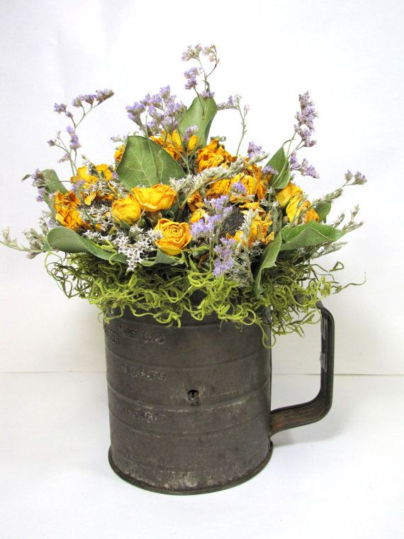 Dried Flower Arrangement, Dried Flowers, Vintage Sifter, Kitchen Decor,  Dried Floral,