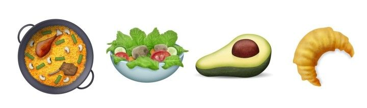 There also new food items! Behold, a paella, salad, avocado, and croissant. | Clown, Avocado, And Owl Emojis Are Finally Here - BuzzFeed News