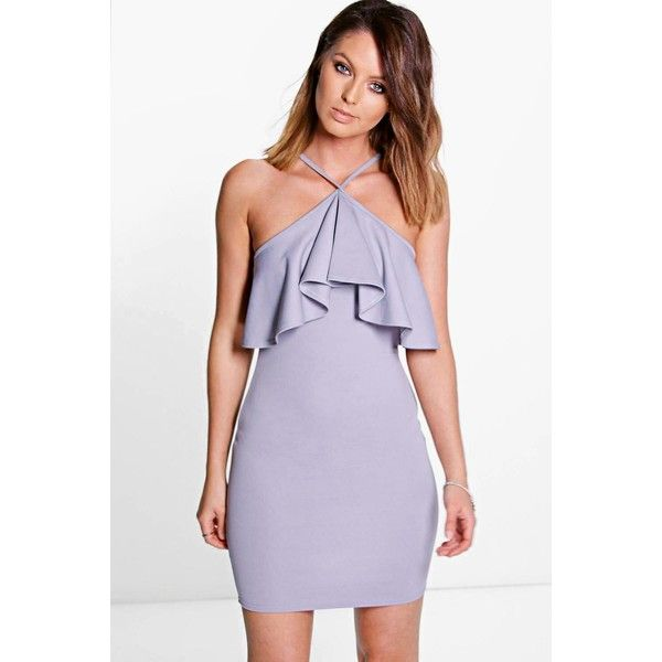 Boohoo Night Sadie Cross Strap Frill Layer Bodycon Dress ($26) ❤ liked on Polyvore featuring dresses, grey, holiday dresses, grey cami, gray dress, grey evening dresses and gray cocktail dress