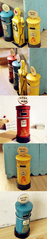 Metal Mailbox Home Decor Craft Ornaments Piggy Bank European Style Vintage Iron Metal Money Box London Royal Mail Metal Mailbox $22.41
