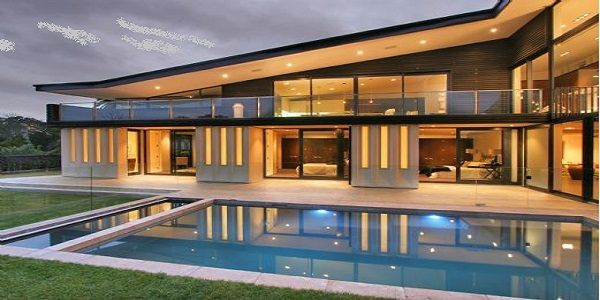 Luxury Exterior Home Design with Swimming Pool