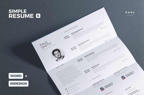 Simple Resume/Cv Vol. 6 by The Resume Creator on @creativemarket