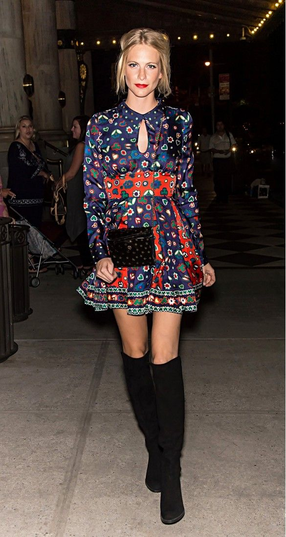 Street style - Poppy Delevingne wearing a 1960's inspired outfit - floaty dress & black knee high boots