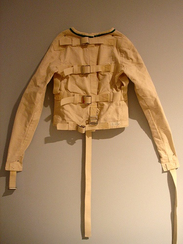 I really want to turn a straight jacket into functioning, non-restrictive clothing piece.