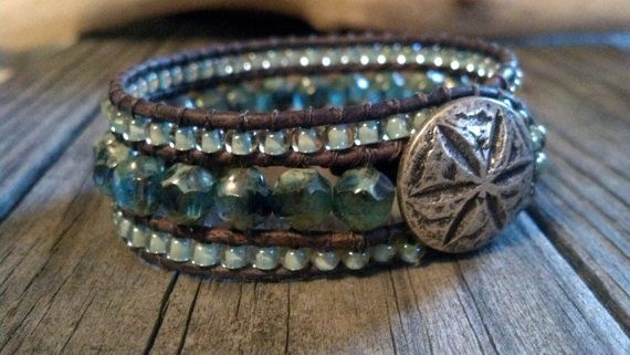 Beaded Leather Cuff Bracelet Picasso Blue Sand Dollar by PZWDesign, $50.00