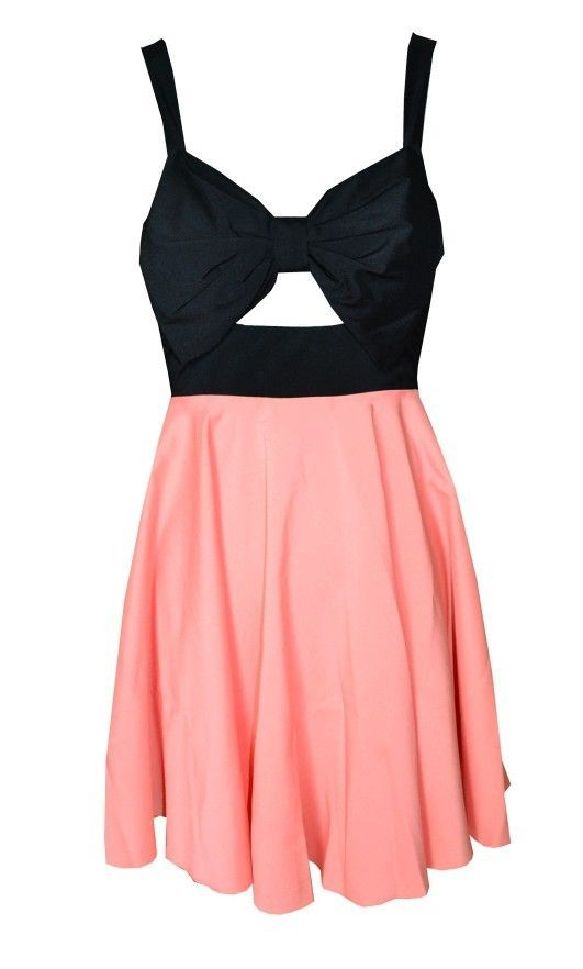 Pink & Black Skater Dress with Bow & Cutout ...