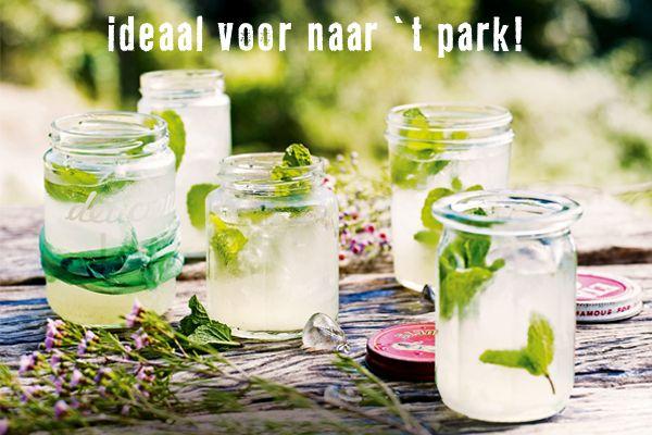 Rum, sinaasappellikeur, limoensap, ijsblokjes en munt. Helemaal handig voor het park, want je neemt ze zonder morsen mee naar het park in je oude jampot.
