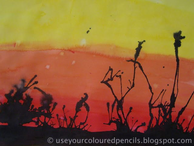 Brush fire painted background with blown ink plants from Use Your Coloured Pencils: grade 5