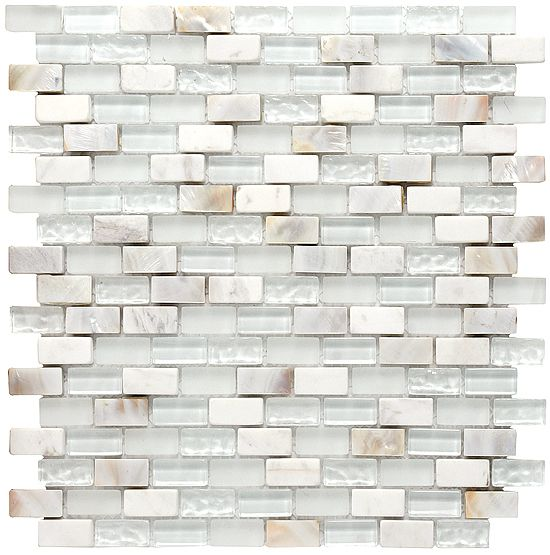 Boutique Collection Tyrol Gl Marble And Mother Of Pearl Blend 0 6 X 1 2 12x12 Mesh Mount Sheet 13 98 Per Square Foot