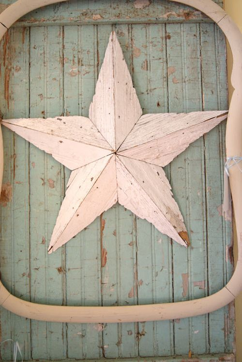 Aqua Painted Weathered Wood...old creamy picture frame...chippy star.