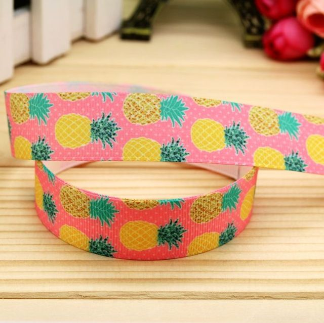 7/8'' Free shipping pineapple fruits printed grosgrain ribbon hair bow headwear…