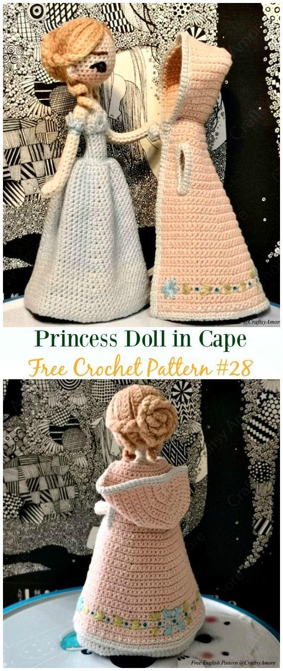 Crochet Princess Doll in Cape Amigurumi Free Pattern – #Crochet, #Doll Toys Free Patterns