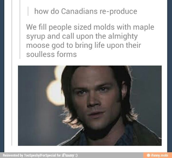 How do Canadians reproduce? <-- I am Canadian, and I am laughing so hard. Mostly because he is from Texas..or from Kansas, depending on if you are talking about the actor or the character