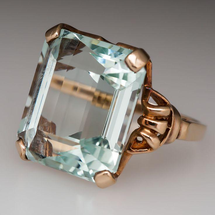 22 Carat Emerald Cut Aquamarine Vintage Cocktail Ring Solid 10K Yellow Gold