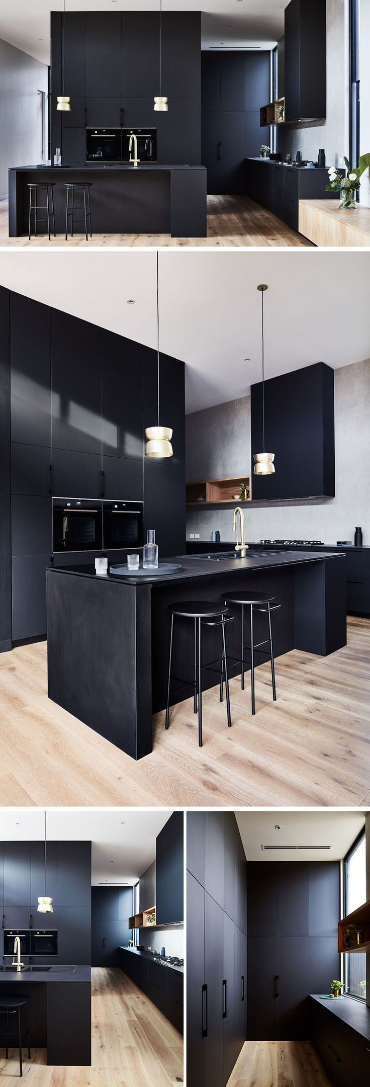 A matte black kitchen with minimal hardware makes a statement against the white walls, while brass fittings add a touch of glamour. #MatteBlack #BlackKitchen #ModernKitchen