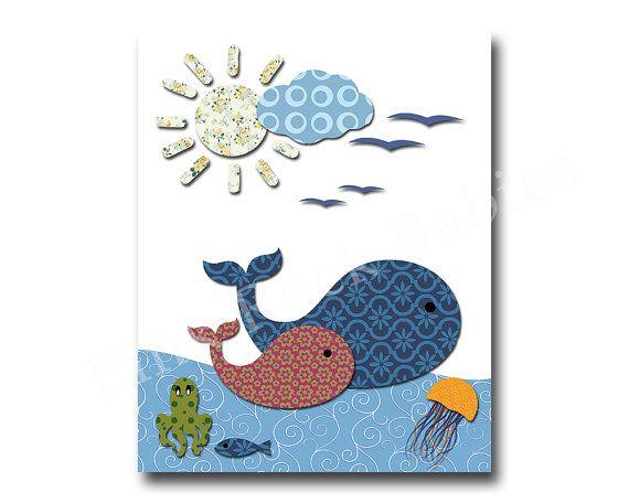 Ocean whale nursery decor nautical nursery kids by PinkRockBabies
